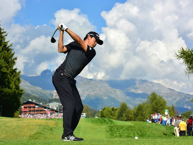 David Lipsky of USA plays a shot during the third round of the Omega European Masters at Crans-sur-Sierre Golf Club on September 6, 2014