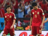 Spain teammates David Silva and Diego Costa during a game with Chile on June 18, 2014