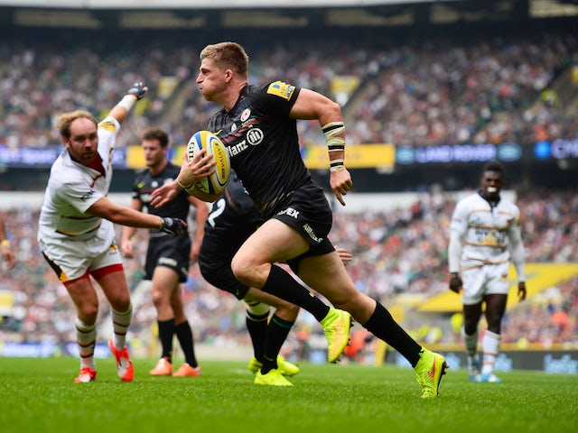 David Streetle of Saracens scores a try during the Aviva Premiership match Saracens and Wasps at Twickenham Stadium on September 6, 2014