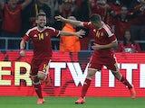 Dries Mertens (L) of Belgium celebrates after scoring the first goalduring International friendly match against Australia on September 4, 2014
