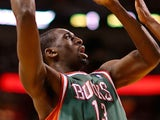 Ekpe Udoh #13 of the Milwaukee Bucks shoots during Game 2 of the Eastern Conference Quarterfinals of the 2013 NBA Playoffs against the Miami Heat at American Airlines Arena on April 23, 2013