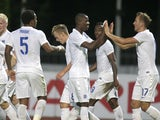 England celebrate Harry Kane's goal during the Lithuania v England UEFA U21 Championship Qualifier 2015 match at Dariaus ir Gireno Stadionas on September 5, 2014