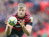George Kruis of Saracens catches the ball during the Aviva Premiership match between Saracens and Harlequins at Wembley Stadium on March 22, 2014