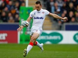 Kevin Sinfield of England kicks during the Rugby League World Cup Group A match at the KC Stadium on November 9, 2013