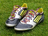 A pair of boots are seen with rainbow laces as part of a anti homophobia campaign prior to the Sky Bet League Two match between Mansfield Town and Northampton Town at One Call Stadium on September 21, 2013