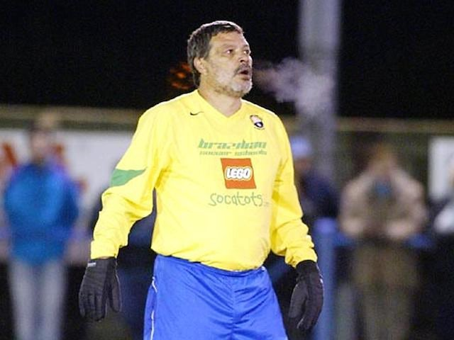 Brazilian football legend Socrates on the football field at Garforth Town 20 November 2004