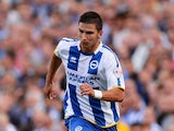 Vitalijs Maksimenko of Brighton in action during the Sky Bet Championship match between Brighton & Hove Albion and Derby County at Amex Stadium on August 10, 2013