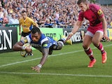 Semesa Rokoduguni of Bath dives in the corner to score a try during the Aviva Premiership match between Bath and London Welsh at the Recreation Ground on September 13, 2014
