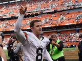 Billy Cundiff #8 of the Cleveland Browns celebrates after kicking the game wining field goal against the New Orleans Saints at FirstEnergy Stadium on September 14, 2014