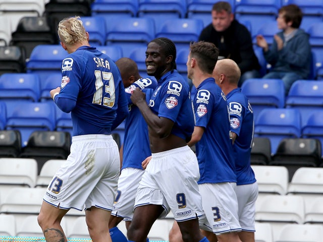 Birmingham City celebrate after the opening gaol during the Sky Bet Championship match between Birmingham City and Leeds United at St Andrews on September 13, 2014