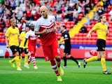 Yoni Buyens of Charlton celebrates scoring the first goal during the Sky Bet Championship match between Charlton Athletic and Watford at The Valley on September 13, 2014