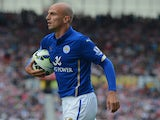Esteban Cambiasso of Leicester looks on during the Barclays Premier League match between Stoke City and Leicester City at the Britannia Stadium on September 13, 2014