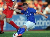 Jack Barmby of Leicester City during the pre season friendly match between Ilkeston and Leicester City at the New Manor Ground on July 22, 2014