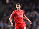 Lazar Markovic of Liverpool in action during the Barclays Premier League match between Manchester City and Liverpool at the Etihad Stadium on August 25, 2014
