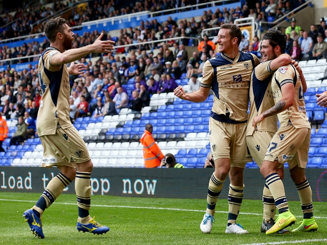 Alex Mowatt of Leeds celebrates after he scores during the Sky Bet Championship match between Birmingham City and Leeds United at St Andrews (stadium) on September 13, 2014