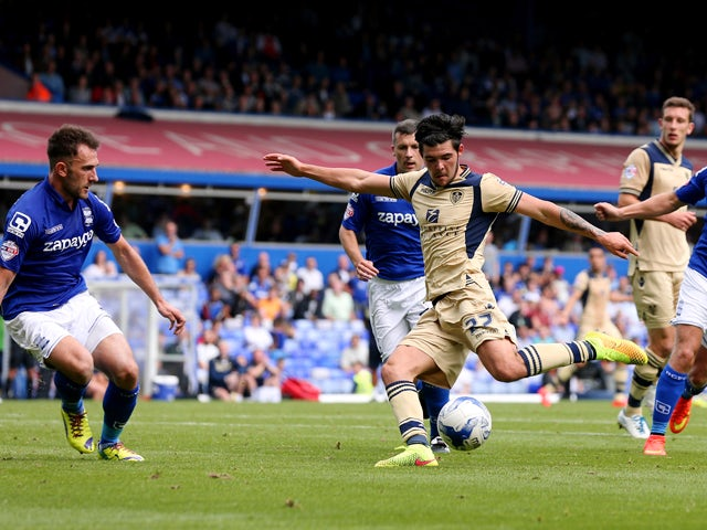 Alex Mowatt of Leeds scores during the Sky Bet Championship match between Birmingham City and Leeds United at St Andrews (stadium) on September 13, 2014