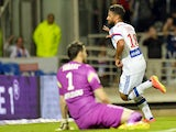 Lyon's French midfielder Nabil Fekir celebrates after scoring a goal during the French L1 football match between Lyon and Monaco at the Gerland stadium in Lyon on September 12, 2014