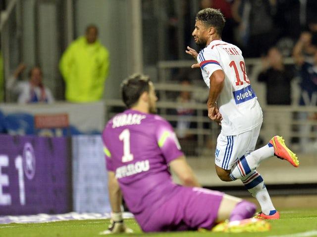 Lyon S French Midfielder Nabil Fekir Celebrates After Scoring A Goal