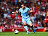 Frank Lampard of Manchester City on the ball during the Barclays Premier League match between Arsenal and Manchester City at Emirates Stadium on September 13, 2014