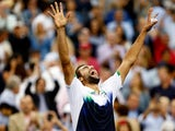 Marin Cilic of Croatia celebrates after winning the US Open at Flushing Meadows, New York on September 8, 2014