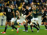 Steven Luatua of the All Blacks runs the ball during The Rugby Championship match between the New Zealand All Blacks and the South Africa Springboks at Westpac Stadium on September 13, 2014