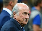 President Joseph S. Blatter looks on during the 2014 FIFA World Cup Brazil Third Place Playoff match between Brazil and the Netherlands at Estadio Nacional on July 12, 2014