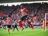 Graziano Pelle of Southampton celebrates as he scores their first goal during the Barclays Premier League match between Southampton and Newcastle United at St Mary's Stadium on September 13, 2014