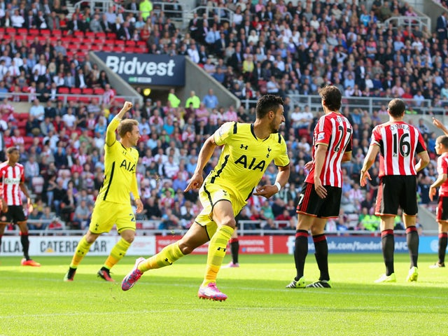 Nacer Chadli of Spurs celebrates scoring the opening goal during the Barclays Premier League match between Sunderland and Tottenham Hotspur at Stadium of Light on September 13, 2014
