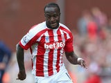 Victor Moses of Stoke City in action during the Barclays Premier League match between Stoke City and Leicester City at Britannia Stadium on September 13, 2014
