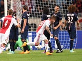Ajax Amsterdam's Lasse Schone celebrates after scoring during the UEFA Champions League football match Ajax Amsterdam vs Paris Saint-Germain (PSG) in Amsterdam, on September 17, 2014