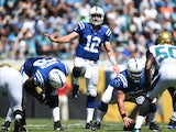 Andrew Luck #12 of the Indianapolis Colts calls a play against the Jacksonville Jaguars at EverBank Field on September 21, 2014