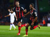 Andrew Surman (r) of AFC Bournemouth celebrates with his team scoring the opening goal during the Sky Bet Championship match against Leeds United on September 16, 2014