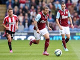 Kieran Trippier of Burnley in action during the Barclays Premier League match between Burnley and Sunderland at Turf Moor on September 20, 2014