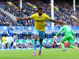 Fraizer Campbell of Crystal Palace celebrates after scoring his team's second goal uring the Barclays Premier League match between Everton and Crystal Palace at Goodison Park on September 21, 2014