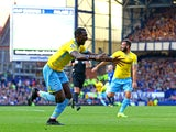 Yannick Bolasie of Crystal Palace celebrates after scoring his team's third goal during the Barclays Premier League match between Everton and Crystal Palace at Goodison Park on September 21, 2014