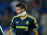 An injured Damia Abella of Middlesbrough looks on during the Sky Bet Championship match between Cardiff City and Middlesbrough at Cardiff City Stadium on September 16, 2014