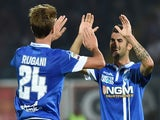 Daniele Rugani of Empoli celebrates after scoring the goal 2-2 during the Serie A match between AC Cesena and Empoli FC at Dino Manuzzi Stadium on September 20, 2014