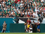 DeSean Jackson #11 of the Washington Redskins celebrates a touchdown in the third quarter against the Philadelphia Eagles at Lincoln Financial Field on September 21, 2014