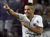 Caen's French forward Florian Raspentino celebrates after scoring a goal during the French L1 football match Toulouse vs Caen on September 20, 2014