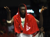 Senegal's centre Hamady Ndiaye reacts during the 2014 FIBA World basketball championships group B match Senegal vs Argentina at the Palacio Municipal de Deportes in Sevilla on September 3, 2014