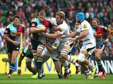 Chris Robshaw of Harlequins looks to break during the Aviva Premiership match between Harlequins and Wasps at Twickenham Stoop on September 20, 2014