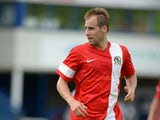 Luke Varney of Blackburn Rovers during the Pre Season Friendly match between AFC Telford United v Blackburn Rovers at New Bucks Head Stadium on July 12, 2014