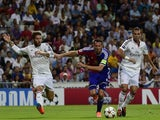 Basel's forward Marco Streller (C) vies with Real Madrid's defender Sergio Ramos (L) and Real Madrid's Portuguese defender Pepe (R) during the UEFA Champions League match on September 16, 2014