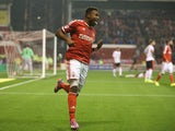 Britt Assombalonga of Nottingham Forest celebrates after scoring the first goal during the Sky Bet Championship match between Nottingham Forest and Fulham at the City Ground on September 17, 2014