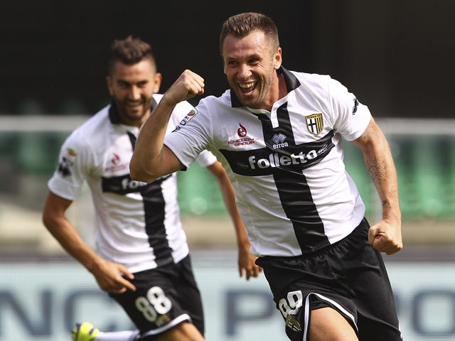 Antonio Cassano of Parma FC celebrates his seond goal during the Serie A match between AC Chievo Verona and Parma FC at Stadio Marc'Antonio Bentegodi on September 21, 2014
