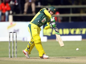 Australia batsman Phil Hughes is in action during the cricket match between Australia and South Africa in the one day international tri-series which includes Zimbabwe at the Harare Sports Club, on August 27, 2014