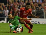 Liverpool's English midfielder Raheem Sterling (R) vies for the ball with Ludogorets Razgrad's Mihail Aleksandrov during the UEFA Champions League Group B match on September 16, 2014