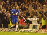 Robbie Savage of Birmingham City celebrates the second goal during the Barclaycard Premiership match between Birmingham City and Aston Villa at St Andrews in Birmingham on September 16, 2002