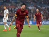 AS Roma's Argentinian forward Juan Manuel Iturbe celebrates after scoring during the UEFA Champions League group E football match As Roma vs CSKA Moskva on September 17, 2014