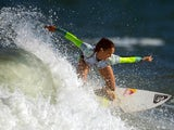 Australian Sally Fitzgibbons competes to win the Rio Women's Pro against Hawaian Carissa Moore at Barra de Tijuca beach in Rio de Janeiro on May 12, 2014